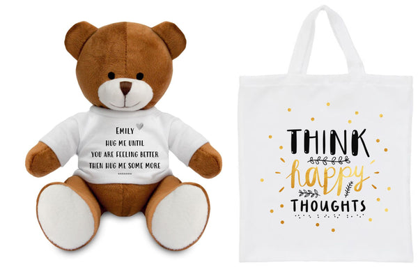 Hug Me Get Well Soon Personalised Teddy PureEssenceGreetings
