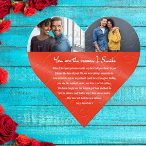 I Smile Love Message Personalised Jigsaw PureEssenceGreetings