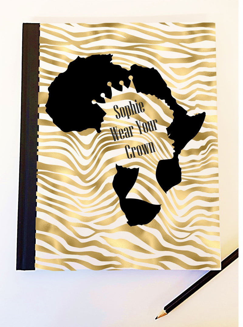 Lady African Crown Personalised Notebook PureEssenceGreetings