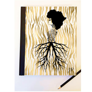 Lady African Roots Personalised Notebook PureEssenceGreetings