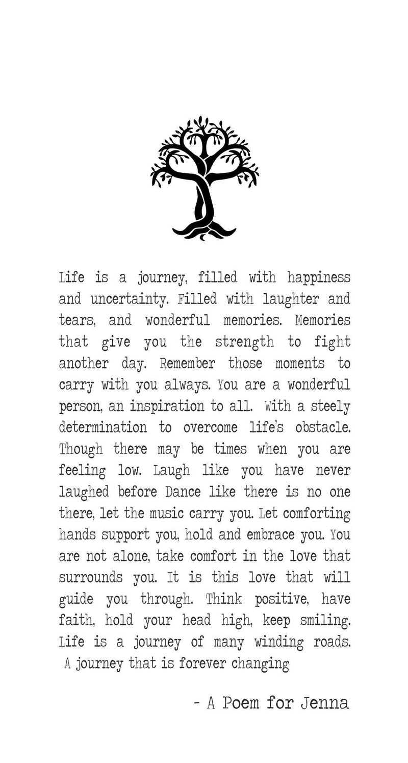 Life Journey Personalised Uplifting Framed Poem PureEssenceGreetings