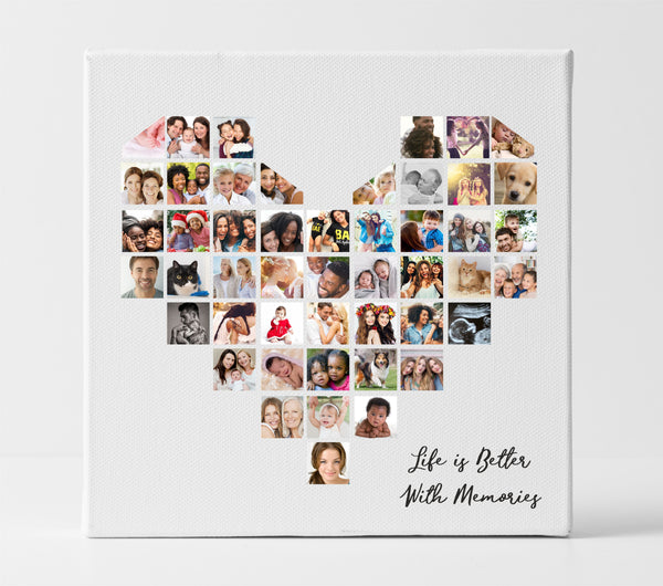 Love Laughter and Happiness Personalised Photo Collage Canvas PureEssenceGreetings
