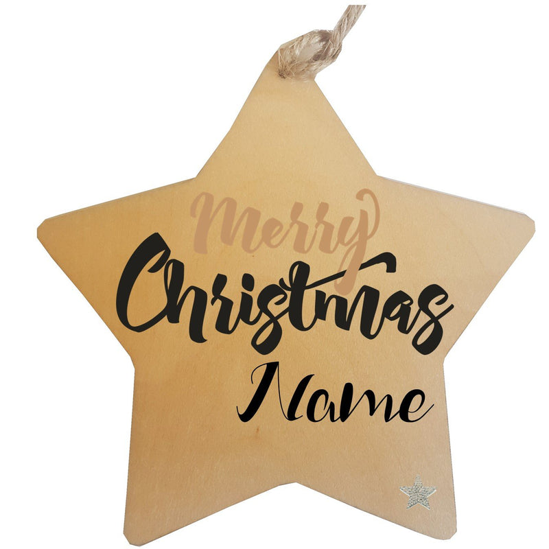 Merry Christmas Personalised Star Decorations - PureEssenceGreetings