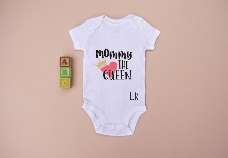 Mom the Queen Personalised Babygro PureEssenceGreetings