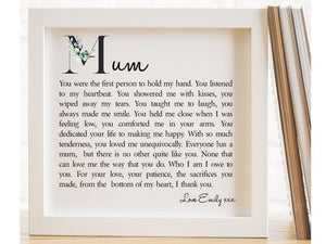 Mum Personalised Framed Poem PureEssenceGreetings