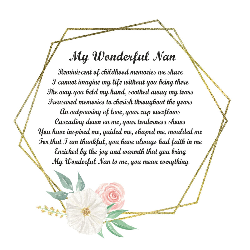 Nan Poem Personalised Plaque - Wonderful Nan. PureEssenceGreetings