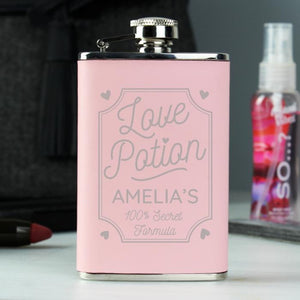 Personalised Love Potion Pink Hip Flask - PureEssenceGreetings