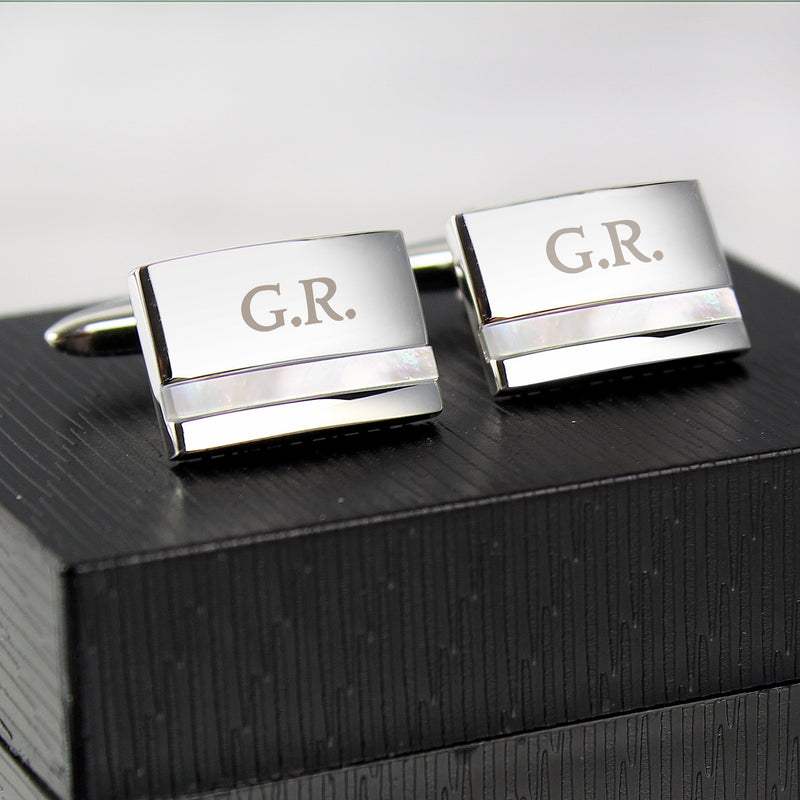 Personalised Mother of Pearl Cufflinks - PureEssenceGreetings