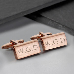 Personalised Modern Rose Gold Plated Cufflinks - PureEssenceGreetings
