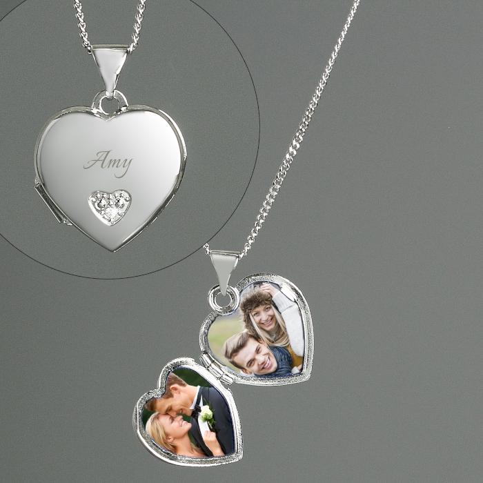 Personalised Sterling Silver & Cubic Zirconia Heart Locket Necklace - PureEssenceGreetings