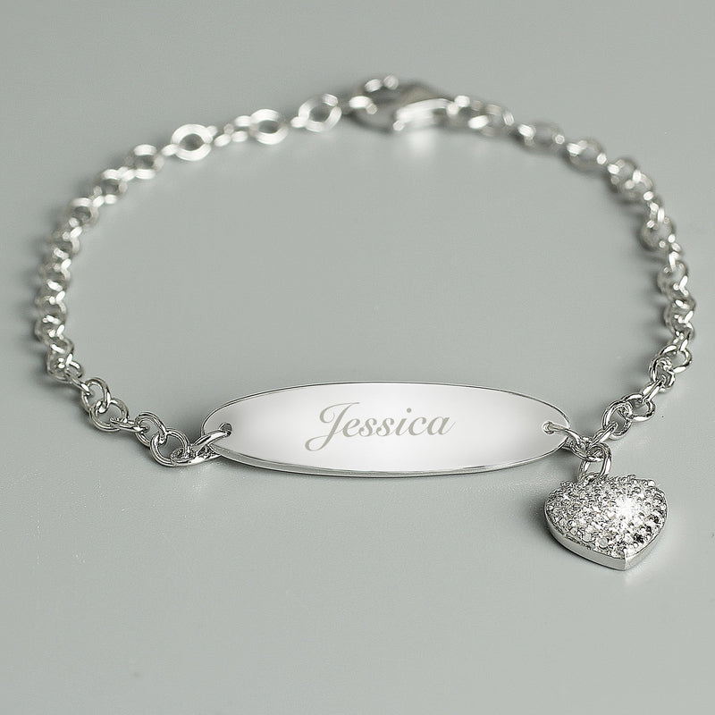 Personalised Children's Sterling Silver and Cubic Zirconia Bracelet - PureEssenceGreetings