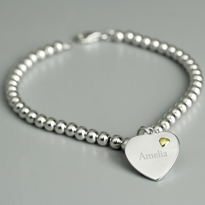 Personalised Sterling Silver and 9ct Gold Heart Bracelet - PureEssenceGreetings