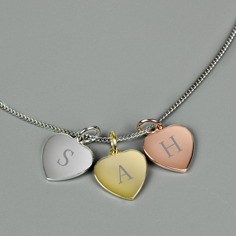 Personalised Gold, Rose Gold and Silver 3 Hearts Necklace - PureEssenceGreetings