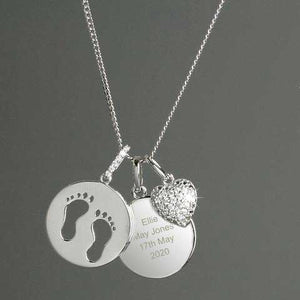 Personalised Sterling Silver Footprints and Cubic Zirconia Heart Necklace - PureEssenceGreetings