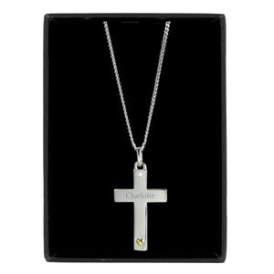 Personalised Sterling Silver Cross with 9ct Gold Heart & CZ Necklace - PureEssenceGreetings