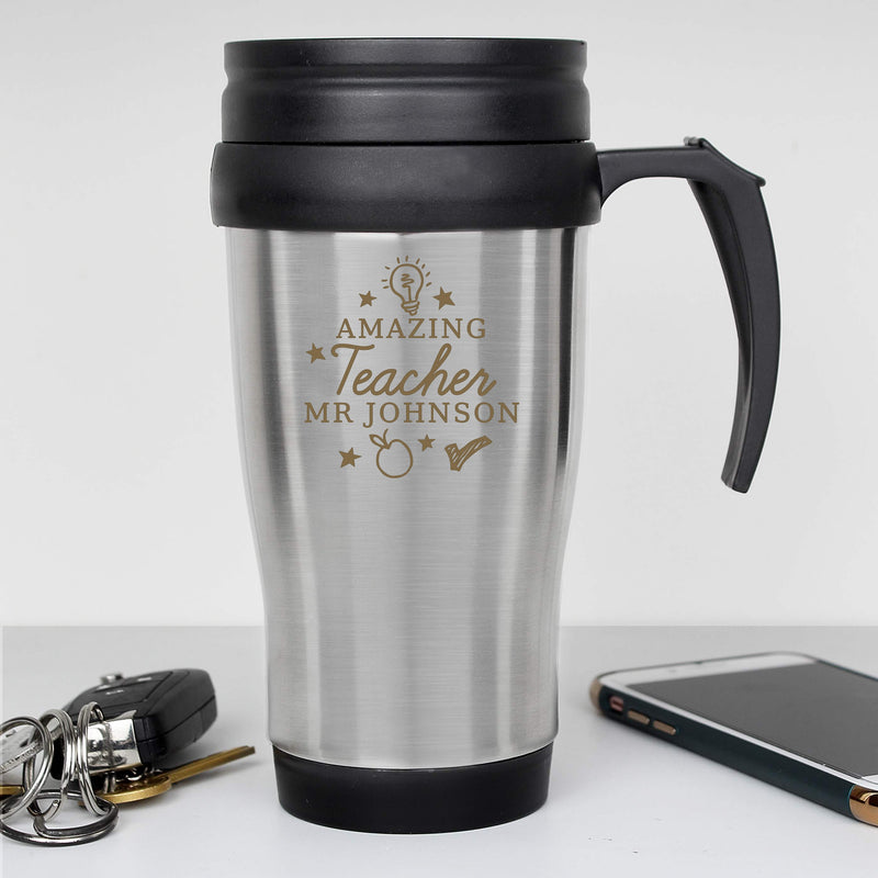 Personalised Amazing Teacher Travel Mug - PureEssenceGreetings
