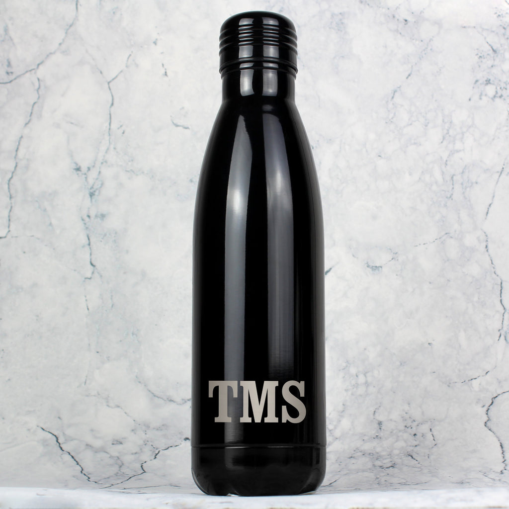 Personalised Initials Black Metal Insulated Drinks Bottle - PureEssenceGreetings
