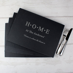 Personalised HOME Slate Rectangle Placemat 4 Pack - PureEssenceGreetings
