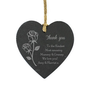 Personalised Rose Small Slate Heart Decoration - PureEssenceGreetings