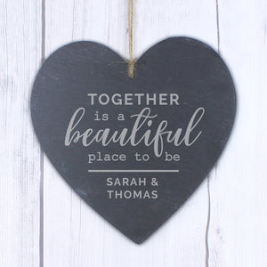 Personalised Together Large Slate Heart Decoration - PureEssenceGreetings