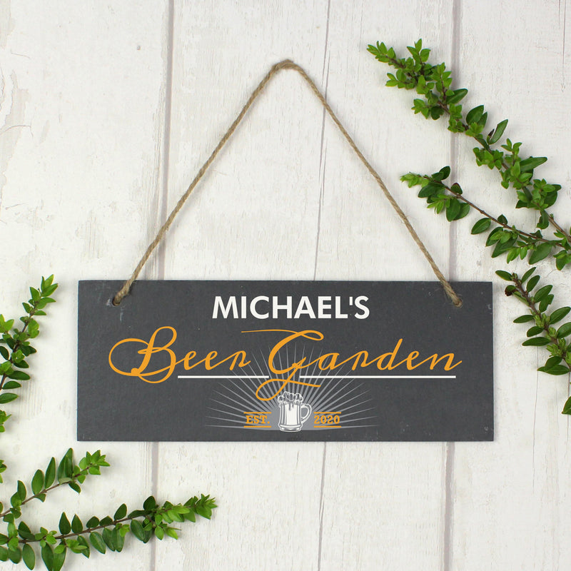 "Personalised ""Beer Garden"" Printed Hanging Slate Plaque"