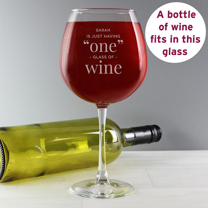 Personalised 'One Glass' Bottle of Wine Glass - PureEssenceGreetings