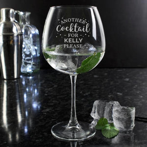 Personalised Another Cocktail Balloon Glass - PureEssenceGreetings