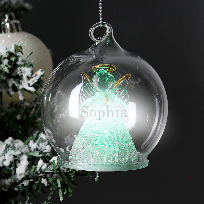 Personalised Christmas Message LED Angel Bauble - PureEssenceGreetings