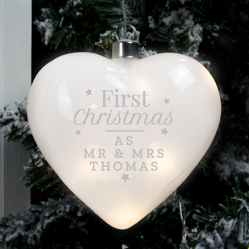 Personalised First Christmas LED Hanging Glass Heart