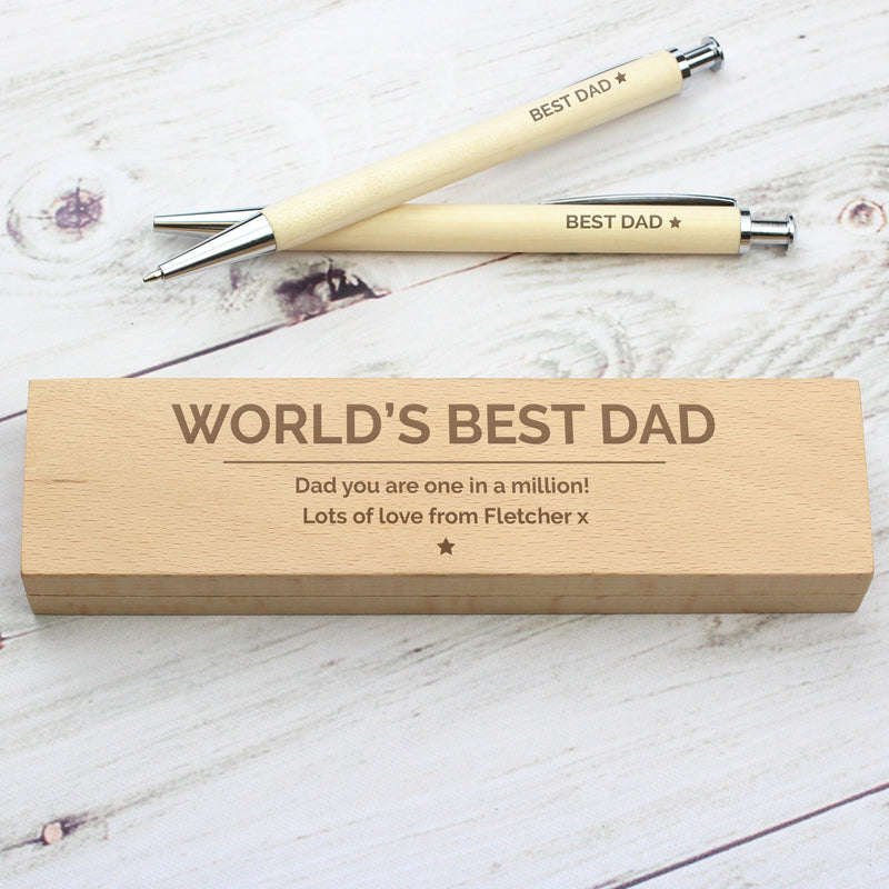 Personalised Classic Wooden Pen & Pencil Box Set - PureEssenceGreetings