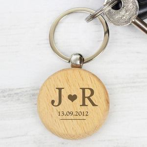 Personalised Monogram Wooden Keyring - PureEssenceGreetings