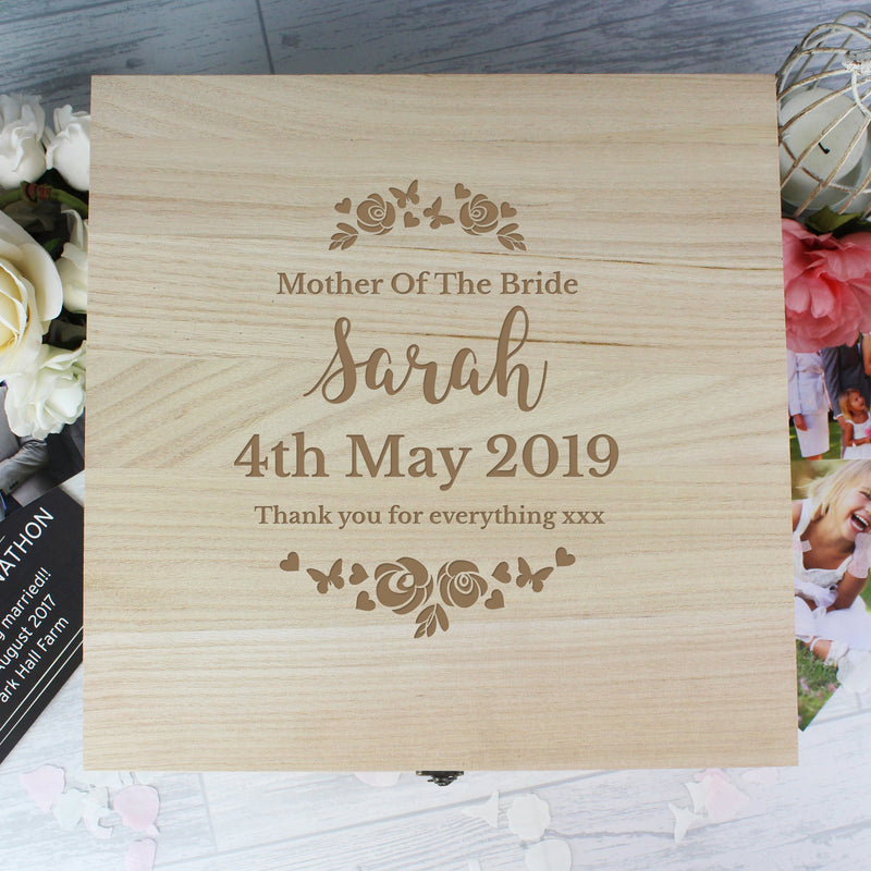 Personalised Wedding Wooden Keepsake Box - PureEssenceGreetings