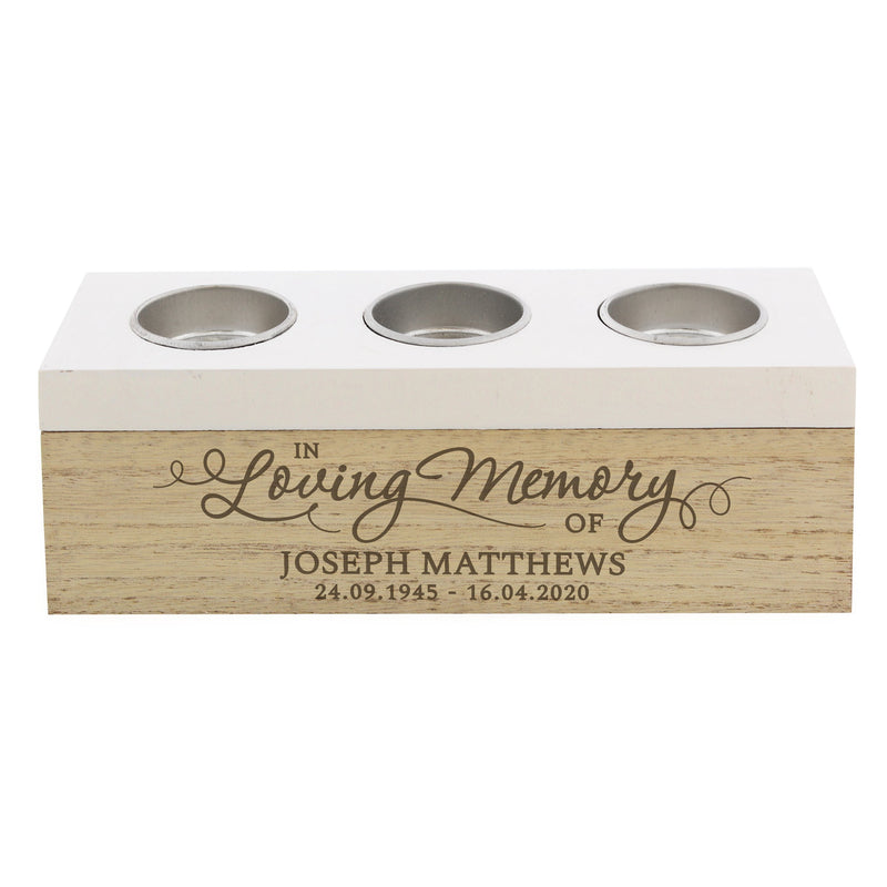 Personalised In Loving Memory Triple Tea Light Box - PureEssenceGreetings