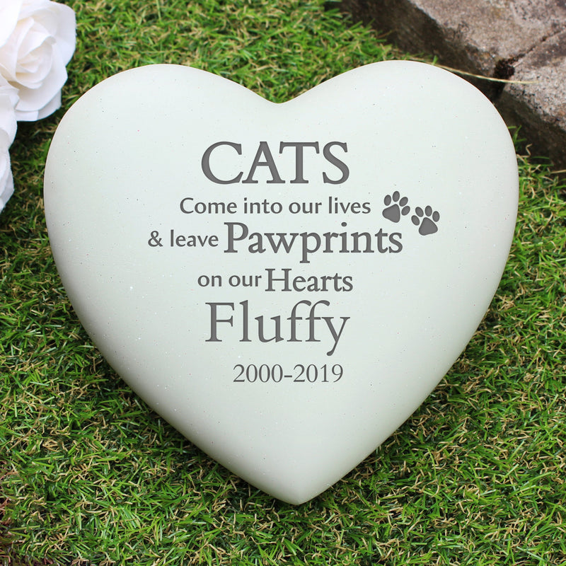 Personalised Cat Pawprints Heart Memorial - PureEssenceGreetings