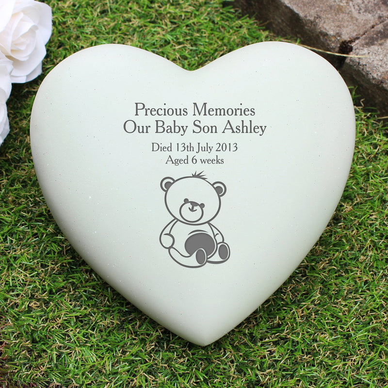 Personalised Teddy Bear Heart Memorial - PureEssenceGreetings