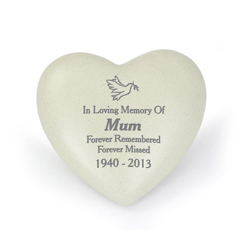 Personalised Dove Heart Memorial - PureEssenceGreetings