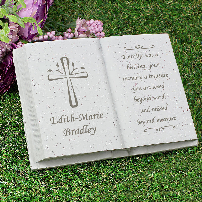 Personalised Cross Memorial Book - PureEssenceGreetings