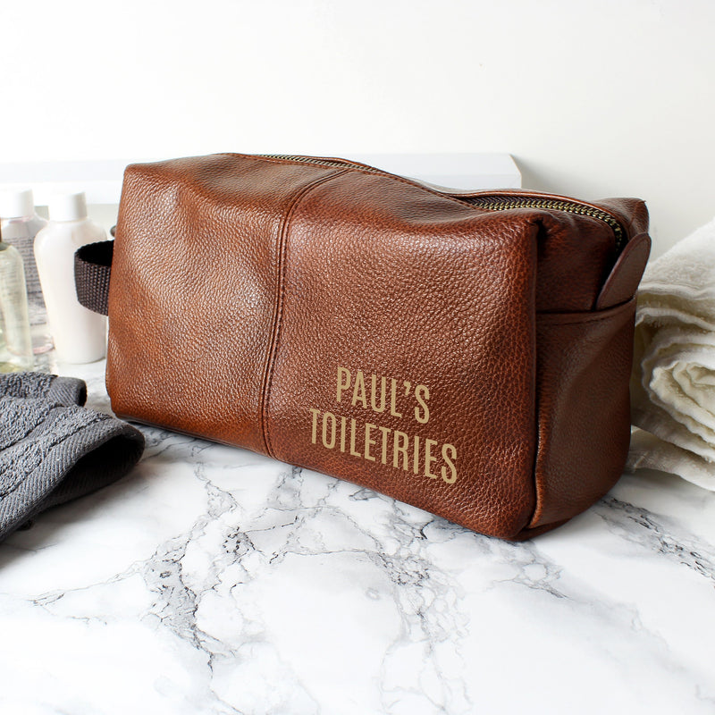Personalised Luxury Brown leatherette Wash Bag - PureEssenceGreetings