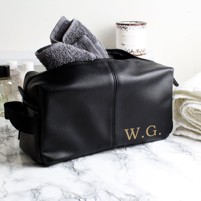 Personalised Luxury Initials Black leatherette Wash Bag - PureEssenceGreetings