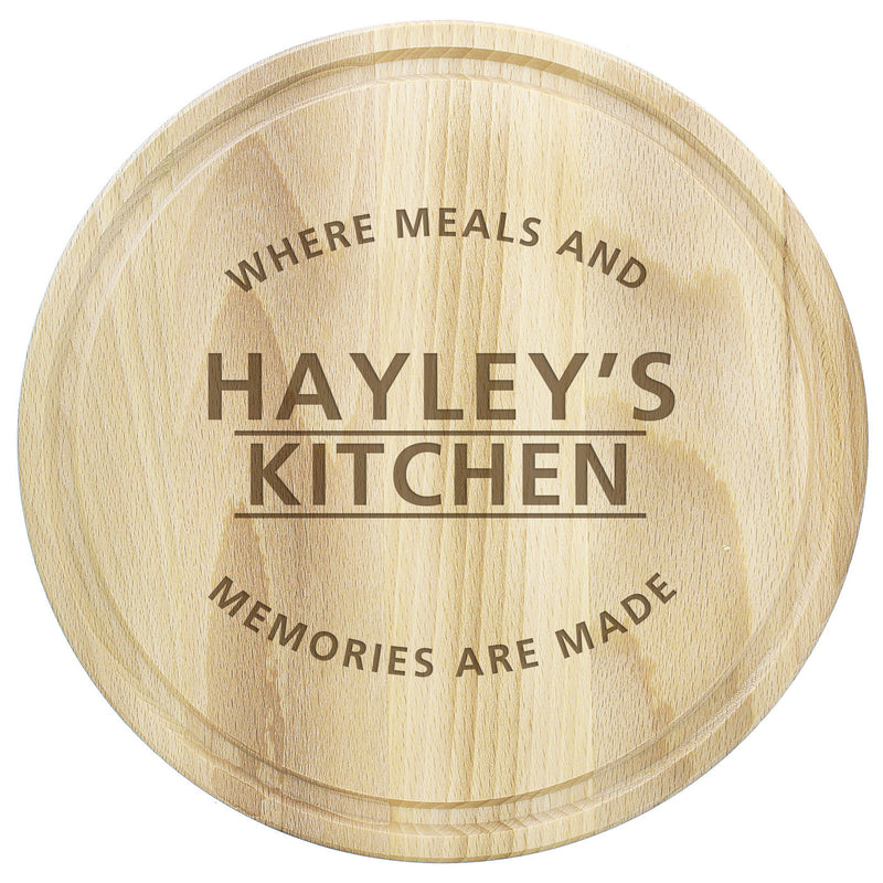 Personalised 'Meals and Memories' Round Chopping Board - PureEssenceGreetings