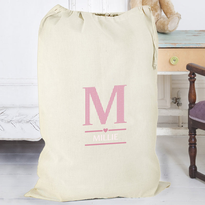 Personalised Girls Initial Cotton Sack - PureEssenceGreetings