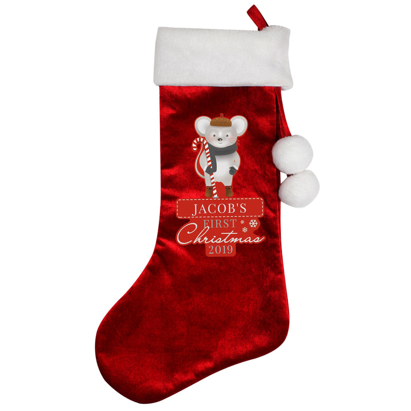 Personalised '1st Christmas' Mouse Stocking - PureEssenceGreetings