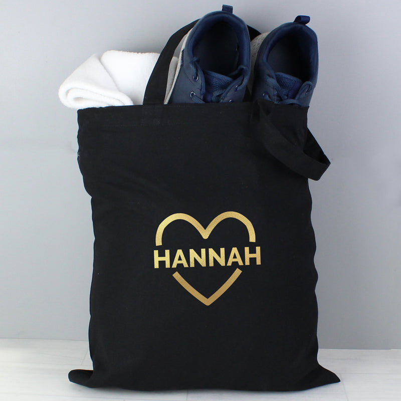 Personalised Gold Heart Black Cotton Bag - PureEssenceGreetings