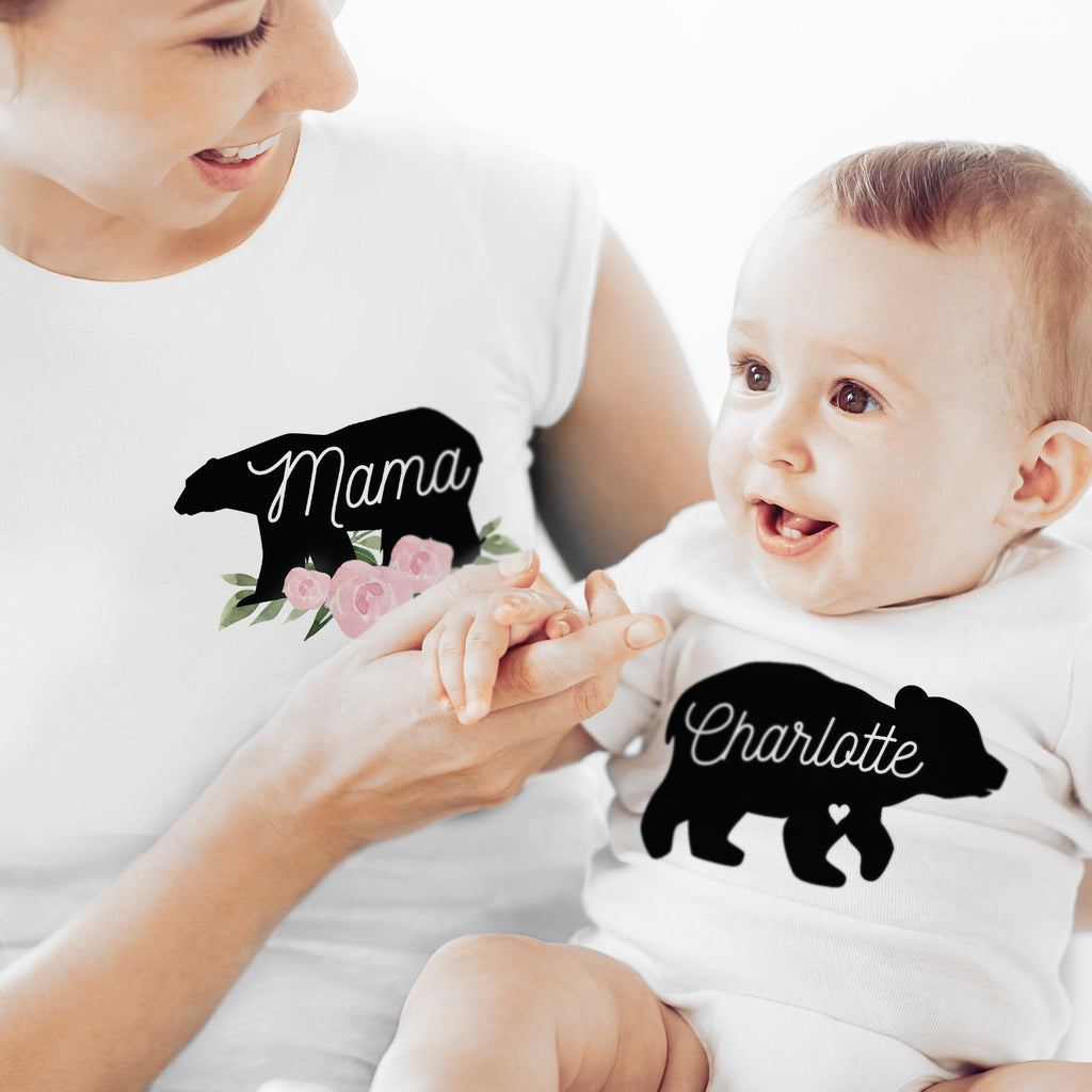 Personalised Mother & Baby Mama Bear T-Shirt And Vest Set (0-3mths) - PureEssenceGreetings