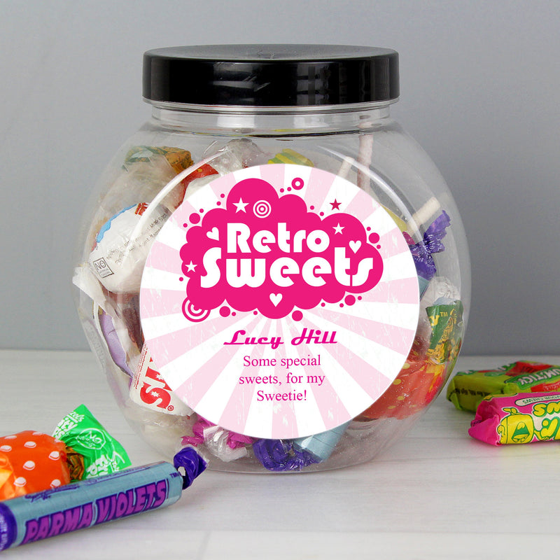 Personalised Retro Pink Sweet Jar - PureEssenceGreetings