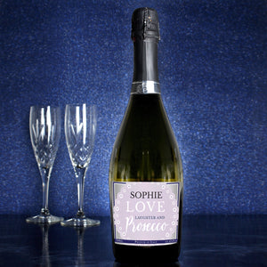 Personalised Lilac Lace Bottle of Prosecco