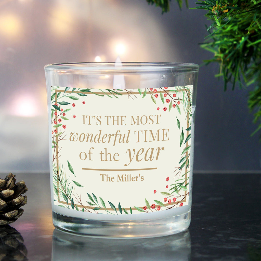 Personalised 'Wonderful Time of The Year' Christmas Scented Jar Candle - PureEssenceGreetings