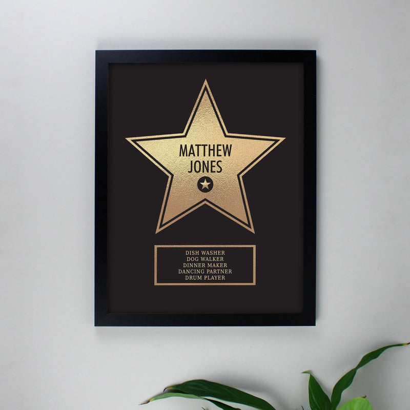 Personalised Walk of Fame Star Award Black Framed Print - PureEssenceGreetings