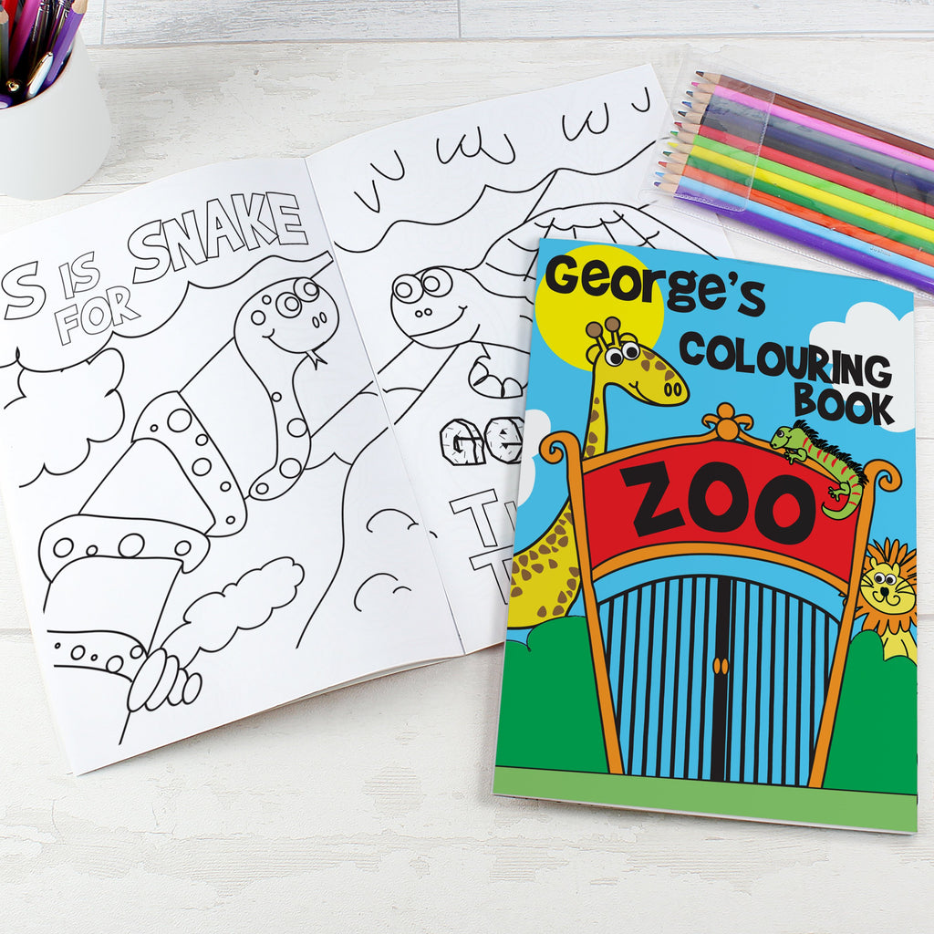 Personalised Zoo Colouring Book with Pencil Crayons - PureEssenceGreetings