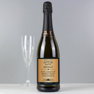 Personalised Any Message Bottle of Prosecco - PureEssenceGreetings